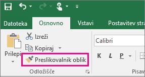 Prikaže gumb »Preslikovalnik oblik« v Excelu