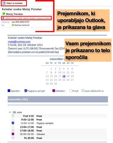 Primer koledarja, prejeta s funkcijo »Pošlji koledar po e-pošti«