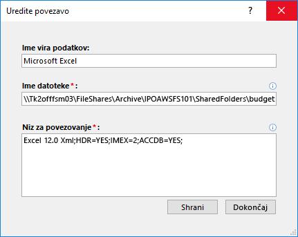 Pogovorno okno» Urejanje povezave «za Excelov podatkovni vir