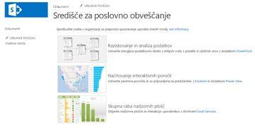 Domača stran mesta središča za poslovno obveščanje v SharePoint Online