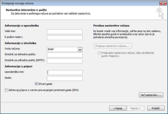 Nastavitve internetne e-pošte v programu Outlook 2010