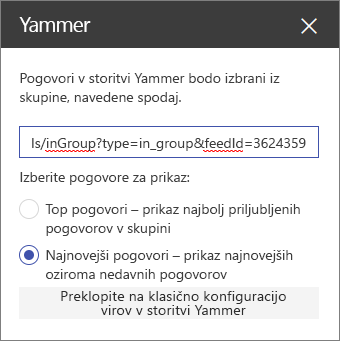 Podokno z lastnostmi storitve Yammer