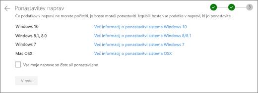 Posnetek zaslona preostale naprave na spletnem mestu storitve OneDrive