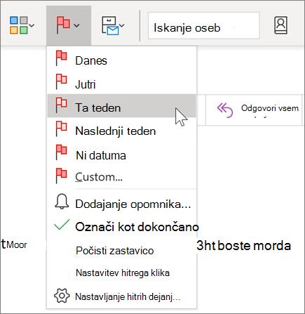 Označevanje sporočila z zastavico za nadaljnje delo v Outlooku