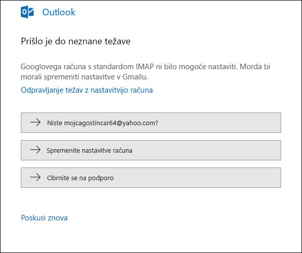 Med dodajanjem e-poštnega računa v Outlook je prišlo do napake.