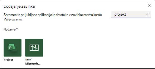 Posnetek zaslona, ki prikazuje pogovorno okno» Dodaj zavihek «in rezultate iskanja za izraz Project
