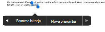 Tapnite novo pripombo, ko izberete besedilo v Wordu
