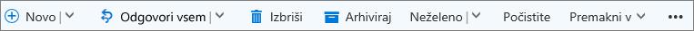 Ukazna vrstica Outlook.com, ki se prikaže, ko je izbrano sporočilo
