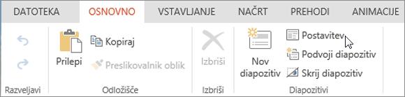 Posnetek zaslona, na katerem je prikazan zavihek »Osnovno« s kazalcem, ki kaže na možnost »Postavitev« v skupini »Diapozitivi«.