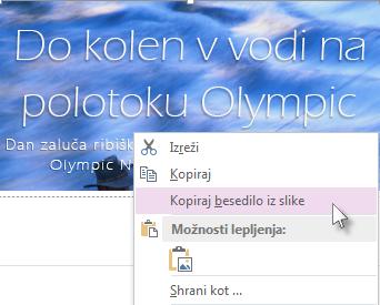 Slika klika menija z desno tipko miške, ki prikazuje ukaz »Kopiraj besedilo iz slike«.