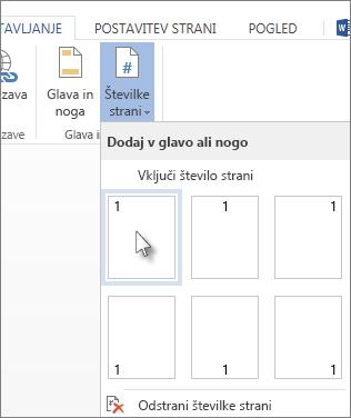 Slika galerije številk strani, ki se odpre, ko na zavihku »Vstavljanje« kliknete možnost »Številke strani«.