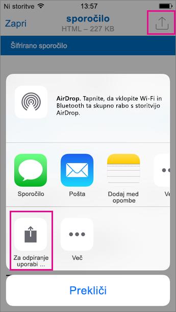 Pregledovalnik za šifrirana sporočila v storitvi Office 365 za Outlook za iOS 2