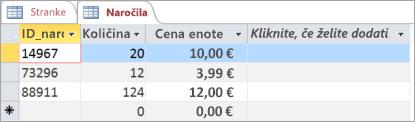 Izbiranje tabele v Accessu