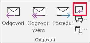 E-poštno sporočilo, izberite odgovori s srečanjem.