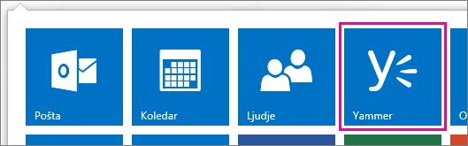 Posnetek zaslona zaganjalnika programov storitve Office 365 s prikazano storitvijo Yammer