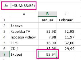 Primer funkcije »Samodejna vsota«, ki prikazuje rezultat