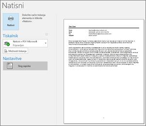 Predogled tiskanja Outlookovega e-poštnega sporočila