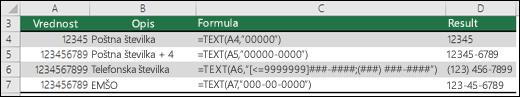 Posebne oblike za funkcijo TEXT