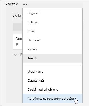 Posnetek zaslona s seznamom »Več« in aktivno možnostjo »Naročite se na posodobitve po e-pošti«.