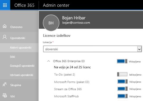 Posnetek zaslona, ki prikazuje stran z licencami izdelkov v Skrbniškem središču za Office 365 in preklopno stikalo, nastavljeno na »Izklopljeno« za To-Do (paket 2).