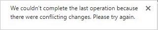 Sporočilo o napaki glede sprememb v sporu dveh ali več uporabnikov v Visiovi datoteki.