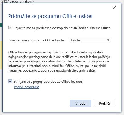 Pogovorno okno» Pridružite se programu Office Insider «