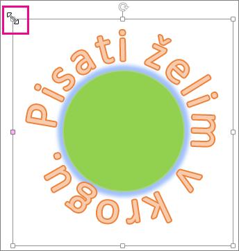 Ročica za spreminjanje velikosti WordArta, s katero spremenite velikost oblike