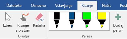 Peresa in označevalniki na zavihku »Risanje« v sistemu Office 2016