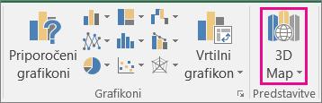 Možnost »3D-zemljevid« v Excelu