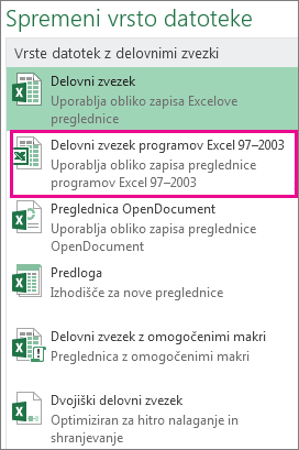 Oblika zapisa delovnega zvezka programa Excel 97–2003