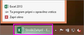opravilna vrstica z ikono Excelovega delovnega zvezka