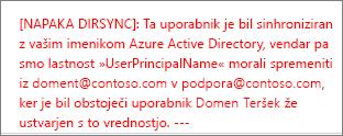 Podrobnosti napake pri sinhronizaciji imenika uporabnika