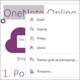 Priročni meni v programu OneNote Online v napravi na dotik
