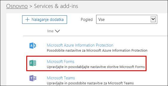 Skrbniške nastavitve aplikacije Microsoft Forms