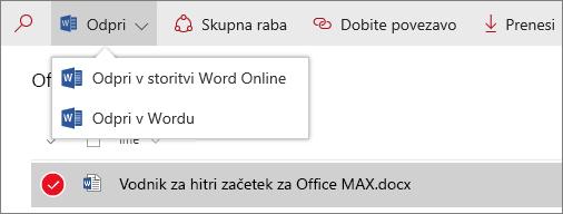 Posnetek zaslona menija »odpri« v novi izkušnji s knjižnico dokumentov.