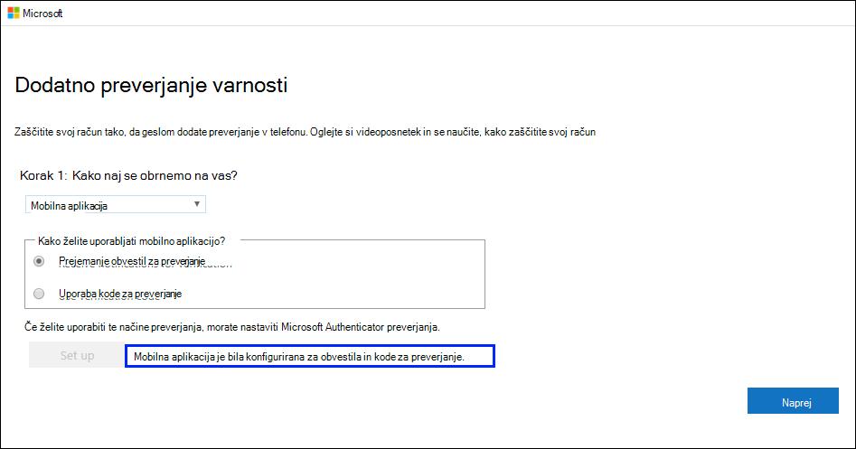 Posnetek zaslona, ki prikazuje stran »Dodatno preverjanje varnosti« s sporočilom »Mobilna aplikacija je bila konfigurirana ...« Success message highlighted.
