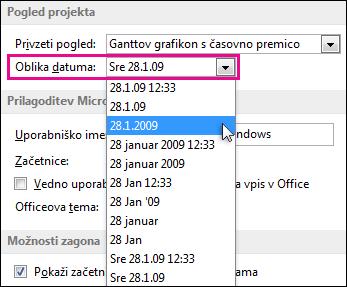Seznam »Oblika datuma« v pogovornem oknu »Možnosti projekta«
