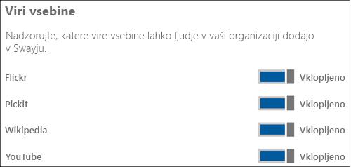 Posnetek zaslona: V razdelku »Viri vsebine« preklopite stikala za različne vire vsebine na »Vklopljeno« ali »Izklopljeno«.