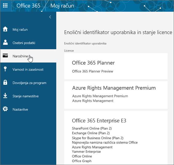 Stran z naročninami na Office 365
