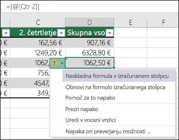 Obvestilo o napaki nedosledne formule v Excelovi tabeli