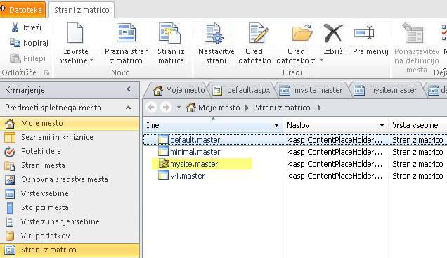 Seznam strani z matrico v programu SharePoint 2010.