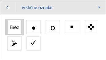 Ukaz »Oznake« s prikazom možnosti oblikovanja