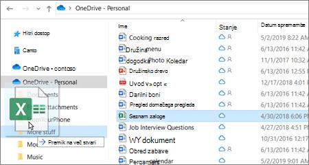 Posnetek premikanja datotek v drugo mapo v storitvi OneDrive.