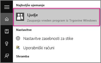 Vnesite »Ljudje« v sistemu Windows 10