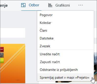 Kliknite spremljaj paket v mapo »Prejeto« , če se želite naročiti na paket