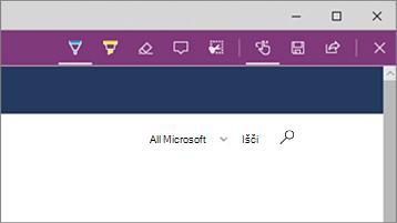 Posnetek zaslona orodij za spletne opombe v brskalniku Microsoft Edge