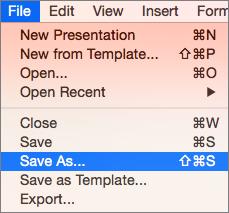 Pokaže meni »Datoteka« > »Shrani kot« v programu PowerPoint 2016 za Mac.