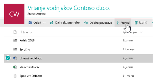 Izberite datoteko in kliknite »Prenos«