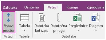 Posnetek zaslona gumba za vstavitev razmika v programu OneNote 2016.