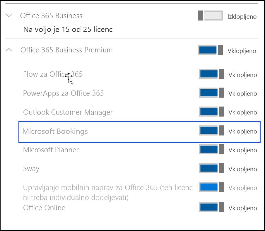 Posnetek zaslona prikazuje nastavitev za Microsoft Bookings, ki bo izklopljena v uporabnikovi licenci za izdelek.